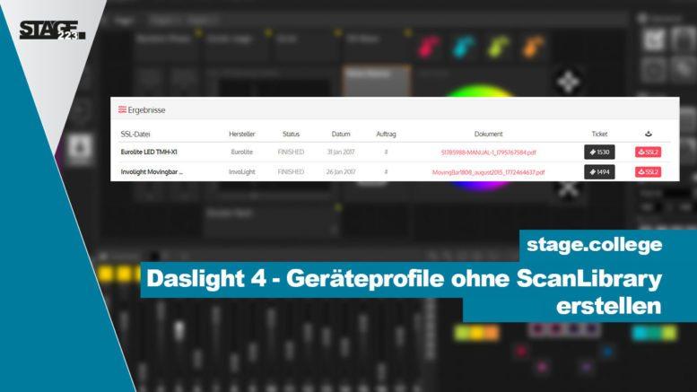 Daslight 4 - Geräteprofile ohne ScanLibrary erstellen