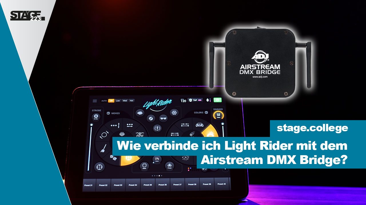 Wie verbinde ich Light Rider mit dem Airstream DMX Bridg