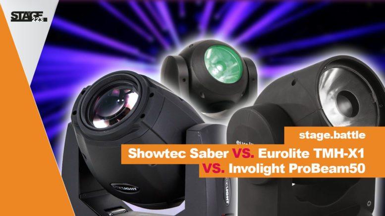 Vergleich zwischen Showtec Saber, Eurolite TMH-X1 und Involight Probeam50