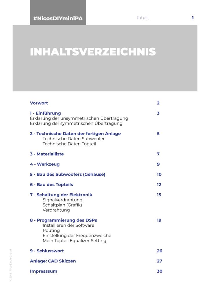 Nicos DIY mini PA-Anlage - Inhaltsverzeichnis