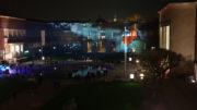 Projektion an der Fassade des Kunstpalastes