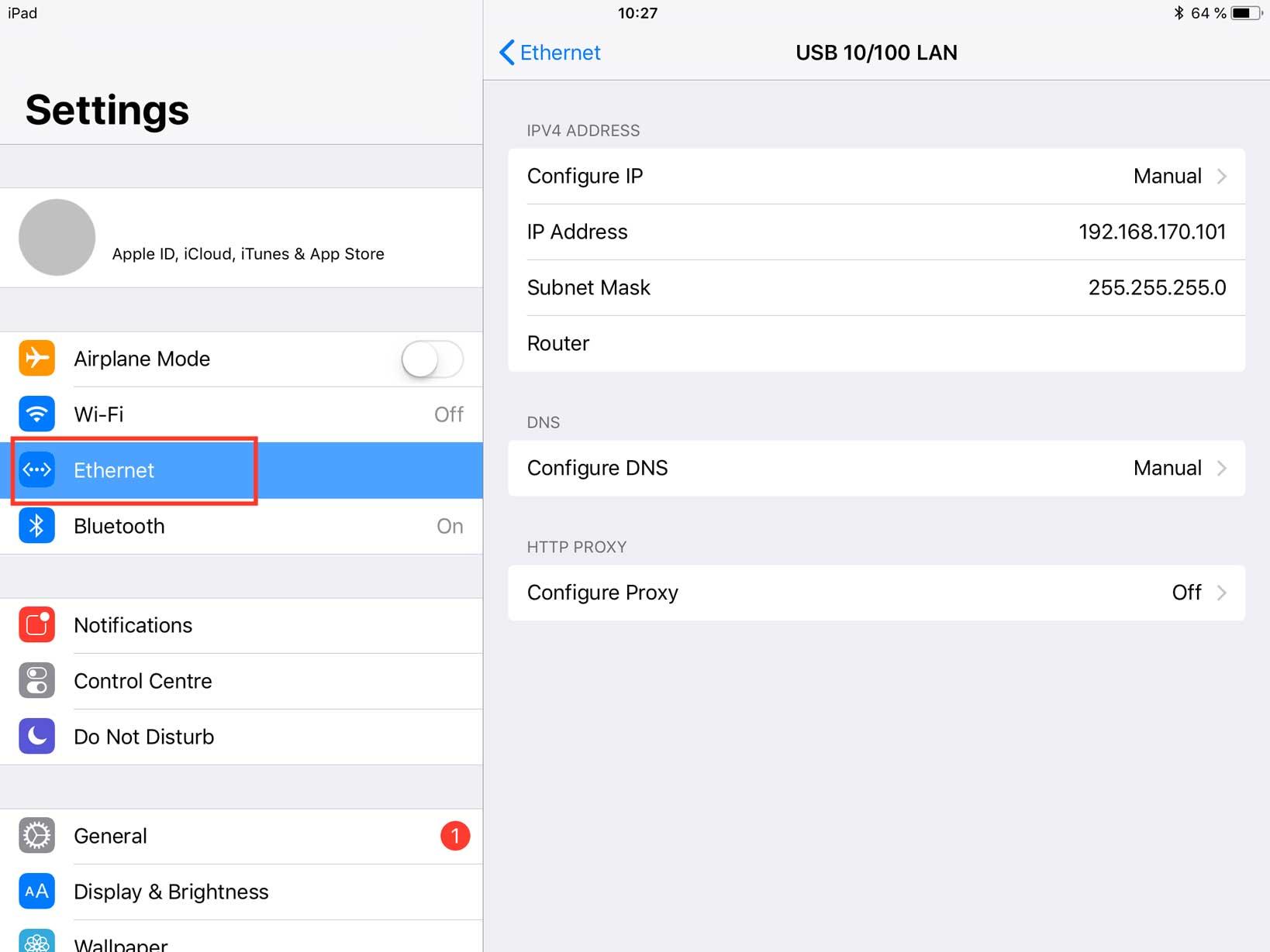 Netzwerkeinstellungen iPad