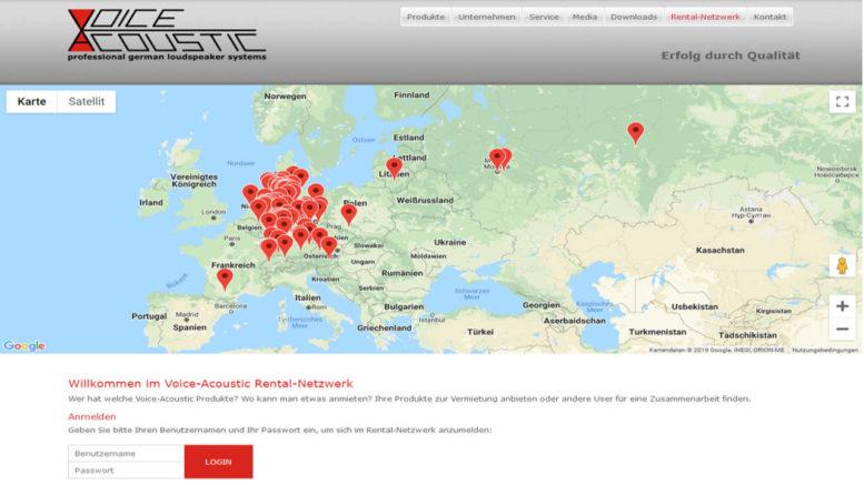 Das neue interaktive User- und Rental-Netzwerk von Voice-Acoustik.