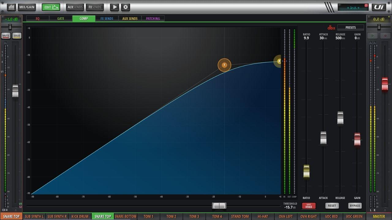 Screenshot eines Kanalkompressors, hier Top-Mikrofon (Schlagfell) der Snare-Drum